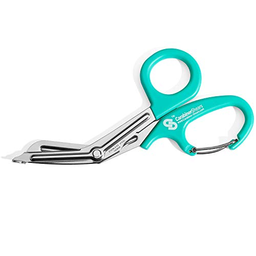 EMT Trauma Shears with Carabiner - Stainless Steel Bandage Scissors for Surgical, Medical & Nursing Purposes - Sharp Curved Scissor for EMS, Doctors, Nurses, Cutting Bandages - Light Blue