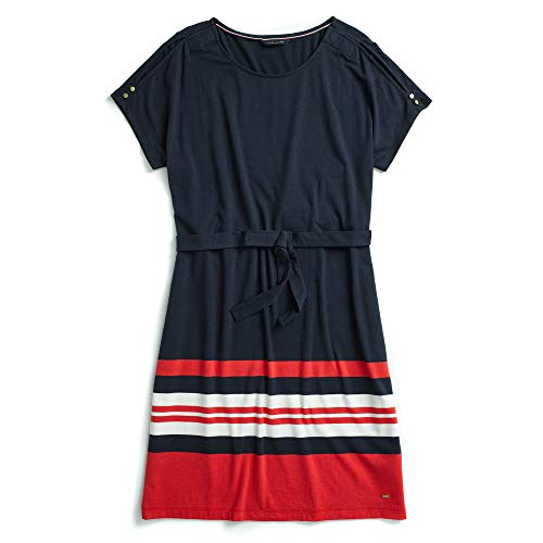 Tommy Hilfiger Women's Adaptive Cold Shoulder Dress with Hidden Magnetic Buttons, Navy/red/White, Medium (Adaptive Dress)