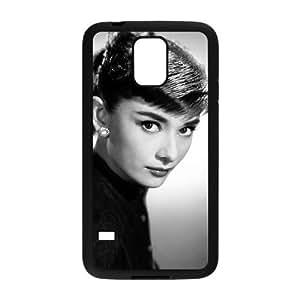 caja del teléfono celular Funda Samsung Galaxy S5 funda Negro Audrey Hepburn K7L3II calcomanía