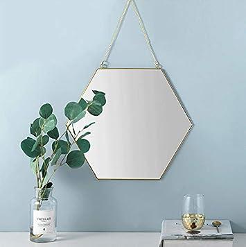 Dahey Hanging Wall Mirror Decor Small Gold Hexagon Mirrors for Home Bathroom Bedroom Living Room,11.81 X10.24
