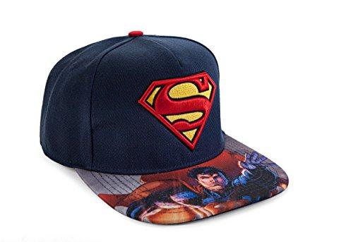 Dc Print Hat (DC Comics Adult Superman 3D Embroidered Logo Print On Flatbill Baseball Hat Navy/Red)
