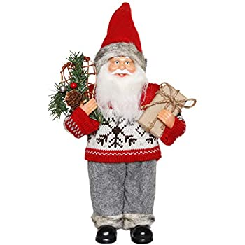f11a47b2f33eb CHENGMON Christmas Santa Claus Ornament Decoration Figurine Collection  Standing Tradition Tabel Decor Red Sweater with Gift Bag and Pine Tree 12
