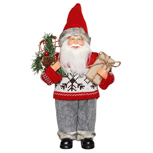 Christmas Santa Claus Figurine - CHENGMON Christmas Santa Claus Ornament Decoration Figurine Collection Standing Tradition Tabel Decor Red Sweater with Gift Bag and Pine Tree 12