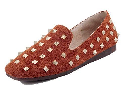 Bas Carré Couleur à Jaune Talon Chaussures Unie Suédé AllhqFashion Tire Femme Légeres YIw0x5S