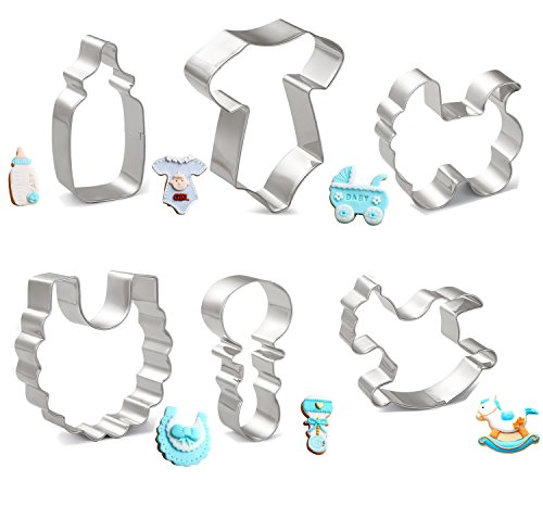 okie Cutters Set - Onesies, Bib, Rattle, Feeding Bottle, Baby Carriage and Rocking Horse - Stainless Steel ()