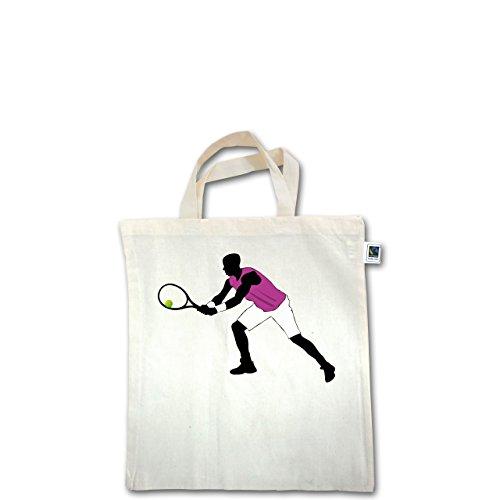 Tennis - Tennis Squash Spieler beide Arme am Schläger - Unisize - Natural - XT500 - Fairtrade Henkeltasche / Jutebeutel mit kurzen Henkeln aus Bio-Baumwolle