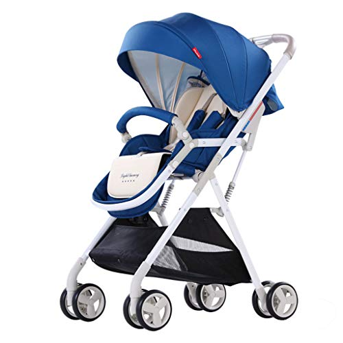 High Landscape Pushchair Weatherproof Sunscreen Shock Absorber Folding Lightweight Portable Travel Baby Stroller, Four Seasons Available for 0~3 Year Old Baby (Color : Blue)