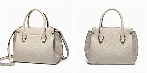 Bolsos de señora Xinmaoyuan Cowhide Femenil Bolso lichi patrones de cruce silvestres hombro Messenger,blanco Blanco