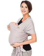 CUBY Baby Sling Wrap Carrier från nyfödda till Todder barn (grå)