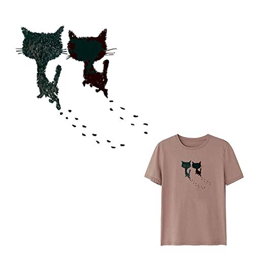 Cat Toy Ball - 1set Cartoon Cat Face Children Clothing Stickers Diy Black Patches Iron On Transfers A Level - Embroid Woman Shirt Outfit Star Tunnel Sisal Black Stripe Catnip Metal Feather B