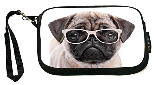 UKBK Hipster Pug Dog Puppy with Glasses Neoprene Clutch Wristlet with Safety Closure - Ideal case for Camera, Universal Cell Phone Case (Round Dog Clutch)