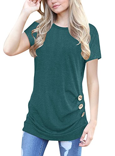 Cotton Short Sleeve Leggings - Lyxinpf Women's Casual Short Sleeve Tunic Tops Round Neck T-Shirts Button Side Loose Blouses A-Dark Green XL