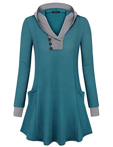 VALOLIA Hooded Tunics for Women, Long Sleeve Button V-Neck Pockets Pullover Hoodies Dark Cyan XX-Large