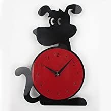 Cute Dog Clock, Timelike 3D Wall Clock Dog Shape Fashion Home Decor Acrylic Wall Clock Horloge Murale