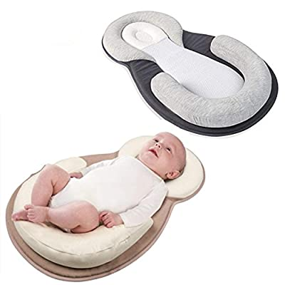 Baby Bed Mattress - Newborn Sleep Positioner Infant Body Support Crib Bumper Nursing Pillow Anti Roll Sleeping Cushion (Beige)
