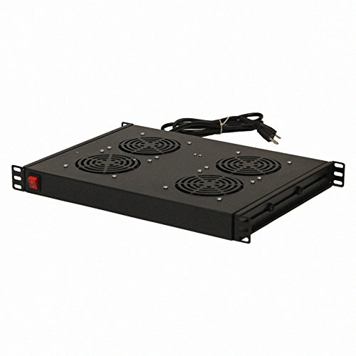 NavePoint Rack Cabinet Mounted Server Four Fan Unit Cooling System with 4 Fans 110V Blk 1U