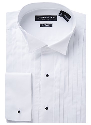 - London Fog Mens L20033-Wing Tip Modern Fit French Cuff Tuxedo Shirt-White, Wing-tip Collar, 17.5