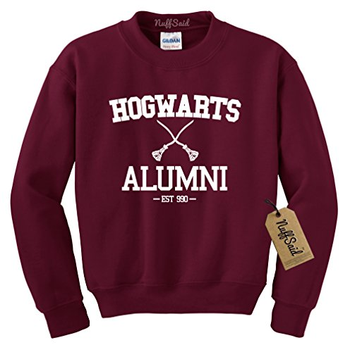 NuffSaid Hogwarts Alumni Harry Potter Unisex Crewneck Sweatshirt - Unisex - Super Comfy (Small, Maroon w/White Ink)