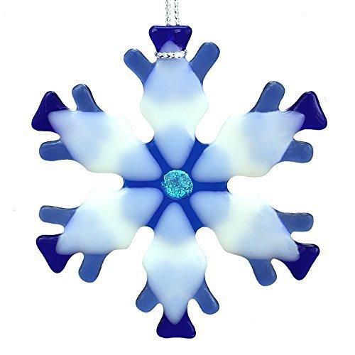 Blue Mix Kiln Fired Glass Snowflake Ornament #2