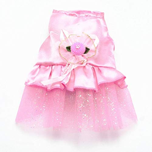 LVYING Spring Dog Dress with Bowknot Lace Patchwork Skirt Mini Princess Fashion Pet Wedding Party Costume Clothes -