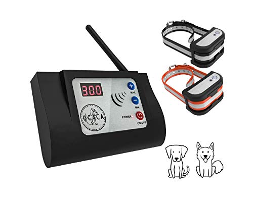 [2019 UPDATED] Wireless Dog Fence System, Safe Outdoor Electric Beep/Vibration/Shock Collar with Remote, Waterproof and Rechargeable Transmitter and Collar for 2 Dogs - Small Medium or Large-2 Collars