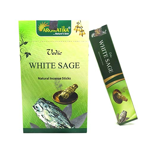 Aromatika vedic White Sage natural masala incense sticks Pack of 12 of 15 gm Each| handrolled in India | organic | recommending for positive energy at your place | yoga,meditation,aromatherapy