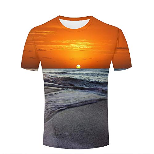 Men Women Casual Design 3D Printed Sea Waves and Sunset Scenery Short Sleeve T Shirts Tees -