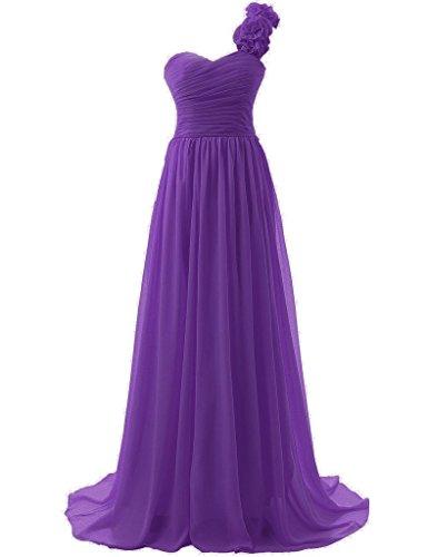 Abendkleid Lang Festkleid Violett Brautjungfernkleid Chiffon Partykleid Ballkleid Schulter Ein BnRx11H