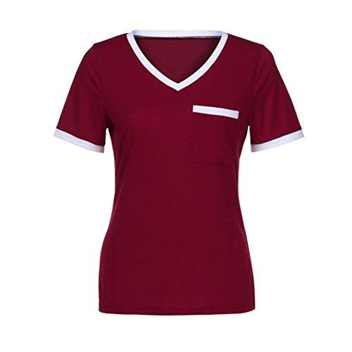 Corta Tasca Shirt Casuale Casuale Donna Maglia Maglietta Tops T Neck V Camicia nbsp; Rosso SamMoSon Maglietta Sexy Elegante nbsp; Manica Camicetta q7YxHwS