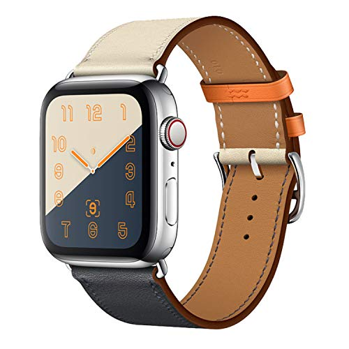 CRLIN Compatible with/Replacement for Apple Watch Band 44mm 40mm 42mm 38mm Series 5/4/3/2/1 Single Tour Replace for iWatch Strap Leather Bands (Indigo/Craie/Orange, 42/44)