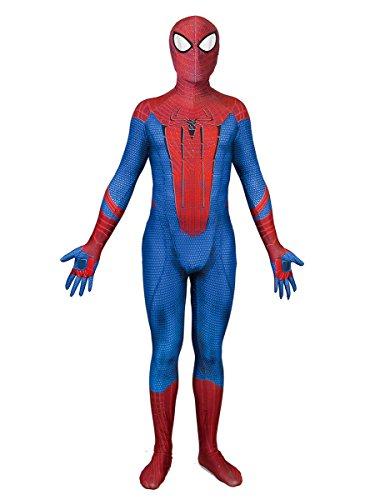 Xairx Spider-Man Zentai Kids Spandex Onesie Full Body Suit Cosplay Superhero Jumpsuit M
