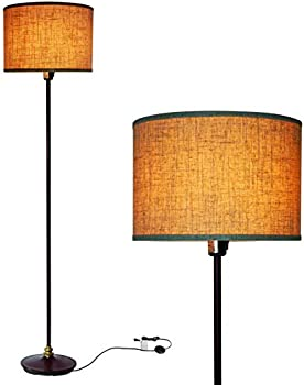 Finxin Modern Standing Lamp with Hanging Drum Shade