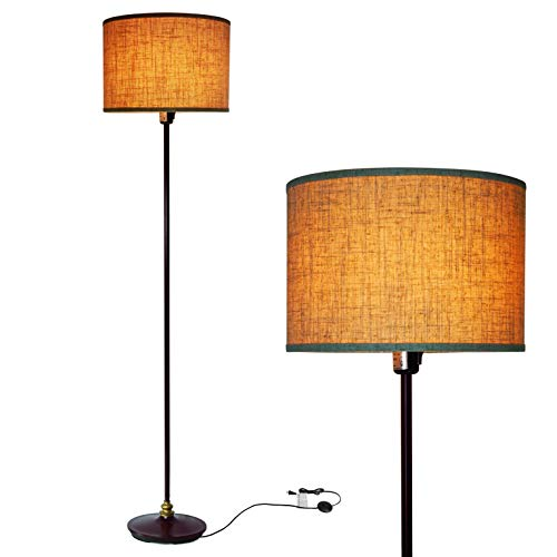 Floor Lamp for Living Room, Modern Standing Lamp with Hanging Drum Shade, Thickened Tall Pole Lamp for Office with Button or Chian and Floor Switch (Bronze)