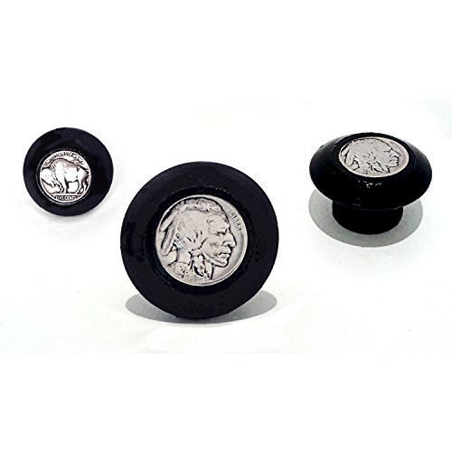 Vintage Coin Buffalo Indian Head Black Drawer Pull Cabinet Knob Antique American ()