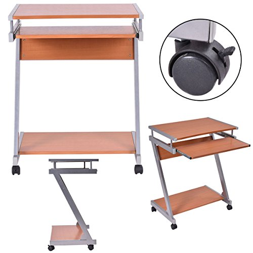 Portable Rolling Computer Desk Laptop Table Work Station Home Office Furniture loveth