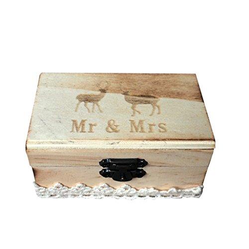 Jili Online Wedding Party Wooden Ring Bearer Box Ring Box Ring Pillow Box Lover Gift Box by Jili Online (Image #10)