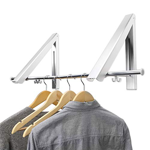(Maddott Indoor/Outdoor Wall Mounted Folding Clothes Drying Rack- Clothes Hanger -Aluminum Folding Clothes Hanger Hanging on Bathroom,Bedroom Balcony and Laundry,Home Storage Organizer (2 Pack) 80cm)