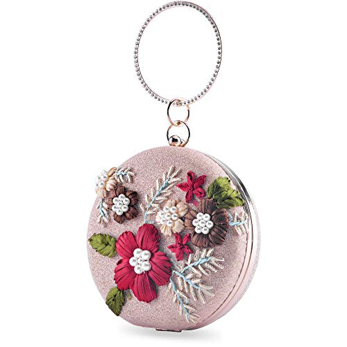 (Womens Evening Clutch Bag Designer Evening Handbag,Lady Party Clutch Purse, Great Gift Choice (Gold-Embroidery Round) )