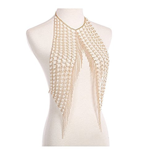 MineSign Sexy Chain Necklace Fashion Shoulder Necklaces Bra Body Jewelry Summer Beach Party Dress Gold Pearl by MineSign (Image #2)