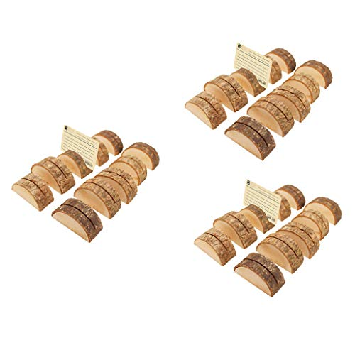 BROSCO Pack 30 Wood Table Numbers Holder Card Holder Memo Note Card