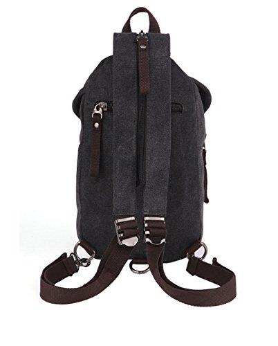 Wewod Mujeres y Hombres Lona del Moda Ocio Mochila Pequeña Honda Bolsa de Hombro Paquete de Pecho 20 x 30 x 7 cm (L*H*W) Negro