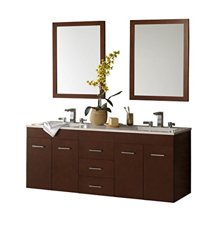 RONBOW Bella 62 inch Double Bathroom Vanity Set in Dark Cherry, Bathroom Vanity Cabinet with Drawers and 2 Mirrors, Bathroom Vanity with Top in White, White Ceramic Vessel Sink 011223-H01_Kit_1 (Beveled Mirror Sliding Closet Door)
