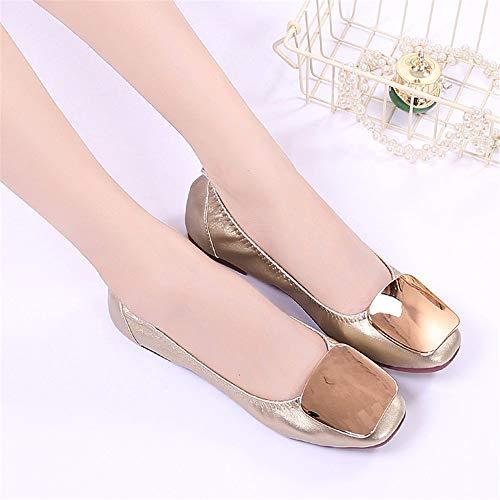 de 36 de de UE de Moda Oro la Ballet Ocasionales Zapatos FLYRCX Ballet plegamiento Poco de Profundas Antideslizantes Zapatos Cuero Zapatos de de Zapatos Planos Trabajo cómodos 41 EU FpnPRqZY