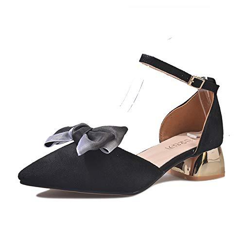 Yukun La Verano Zapatos Alto Y Alto Gruesas De Mujer Para Tacón Mujer Moda Sandalias Baotou Con Black Puntiagudas xxwPSr