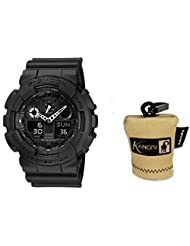 Casio G-Shock Black Resin Quartz Tactical Military Watch (Mens 1A1) & FREE KANGRI Spudz microfiber cloth