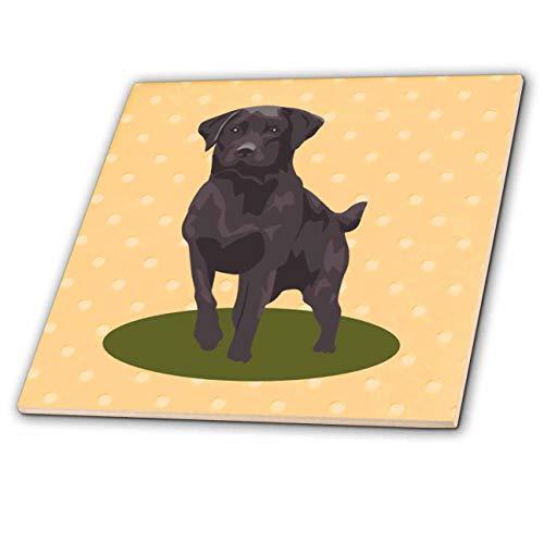 3dRose lens Art by Florene - Kids Art - Image of Chocolate Lab Dog On Yellow Dots - 6 Inch Ceramic Tile (ct_316027_2)