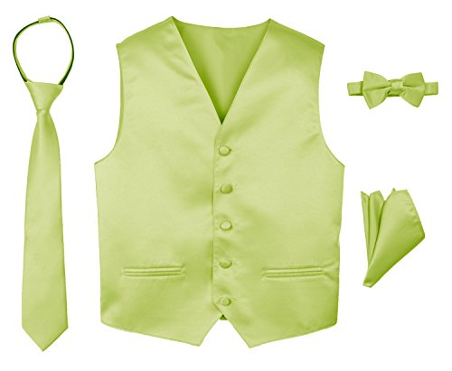 JL34 Johnnie Lene Boys Formal Tuxedo Vest Necktie Handkerchief Bow Tie Set