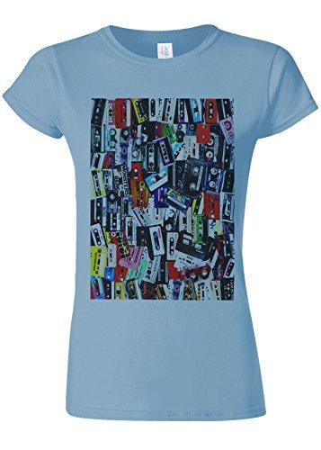 Retro Cassettes Music Novelty Light Blue Women T Shirt Top-S
