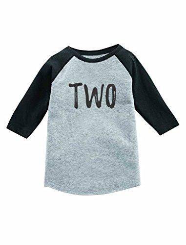 Tstars 2nd Birthday Gift for 2 Year Old Child 3/4 Sleeve Baseball Jersey Toddler Shirt 2T Dark Gray -