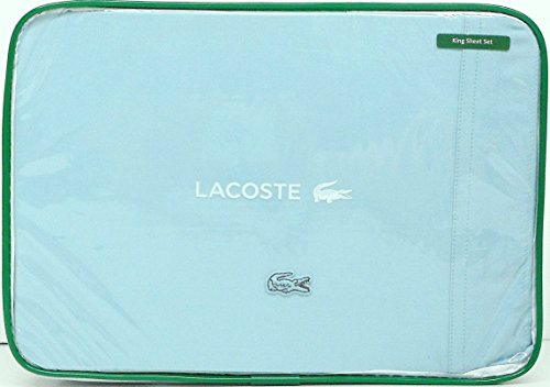 Lacoste Brushed Twill 4 Piece King Sheet Set Stratosphere Blue